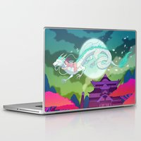 spirited away Laptop & iPad Skins featuring Spirited Away by Jen Bartel