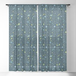 Meteor Showers in Blue + Green Sheer Curtain