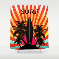 surf Shower Curtains featuring Surf by mark ashkenazi
