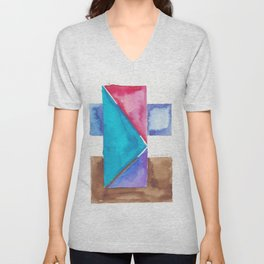 180818 Geometrical Watercolour 8| Colorful Abstract | Modern Watercolor Art Unisex V-Neck
