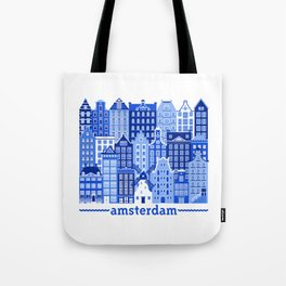 Amsterdam in Delft Blue Tote Bag