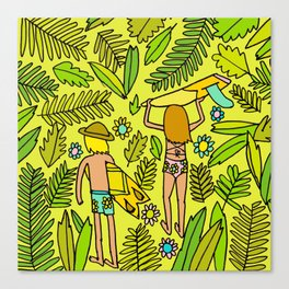Wander On // Single fin Twin Fin surf art tropical Canvas Print
