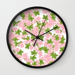 Modern hand painted pink watercolor flowers and green tropical leaf pattern Wall Clock