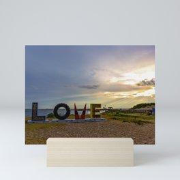 LOVEwork Sign at Sunset in Cape Charles Mini Art Print