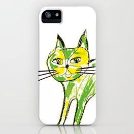 Green cat iPhone Case