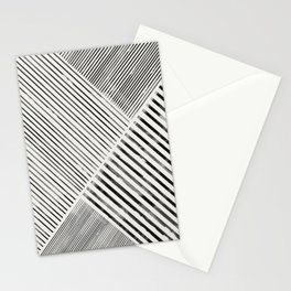Black and White Stripes, Abstract Stationery Cards