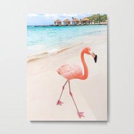 Beachy Flamingo Metal Print