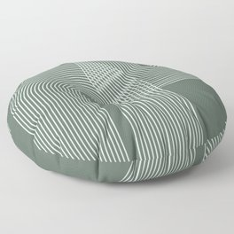 Geometric Lines in Sage Green 2 (Rainbow Abstraction) Floor Pillow