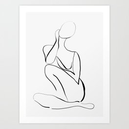 Female Figure Line Art Art Print