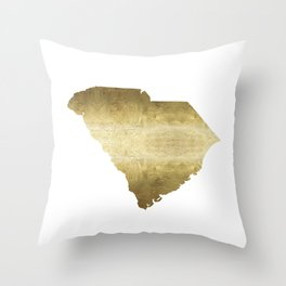 south carolina gold foil state map Throw Pillow
