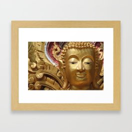 Buddha Head Illustration Design gold Framed Art Print