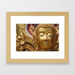 Buddha Head Illustration Design gold Framed Art Print