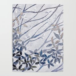 Kimono Inspired leaves and branches print blue toned Poster