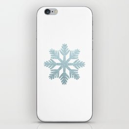 Blue Glitter Snowflake iPhone Skin