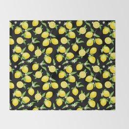 You're the Zest - Lemons on Black Throw Blanket