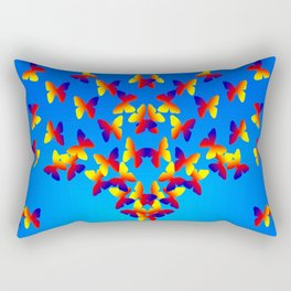 Bright Butterfly Fountain on Blue Rectangular Pillow