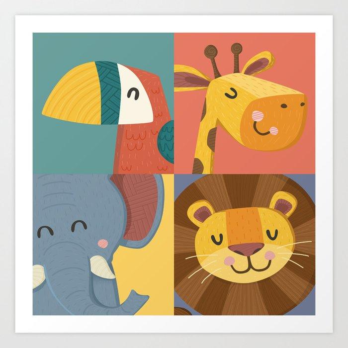 Jungle Animals Wall Art Print Nursery Room Decor Children S New Baby Gift By Britnic