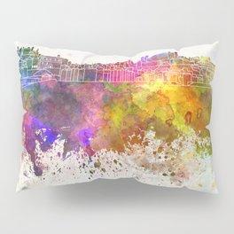 Porto skyline in watercolor background Pillow Sham