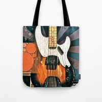 bass Tote Bags featuring Elvis' Bass by Amber Dawn Hilton