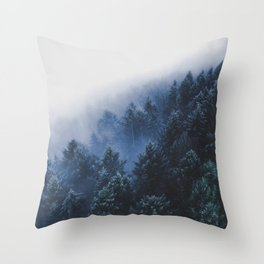 Foggy Blue Purple Mountain hill Pine Trees Landscape Nature Photography Minimalist Modern Art Throw Pillow