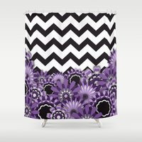 Purple Flower Chevron Shower Curtain