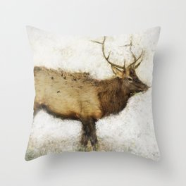 Grand Canyon Elk No. 1 Wintered Throw Pillow