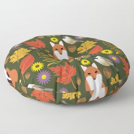 Fox, Autumn Woodland Leaf Print Floor Pillow