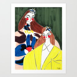 Portrait of the Birds – Delpozo Girls in Fall 2018 Looks no. 2 – Fashion Illustration Art Print
