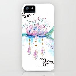 Be Zen Lotus Flower Watercolor iPhone Case