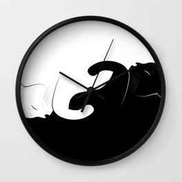 ying yang cats Wall Clock