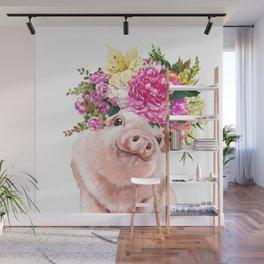 Flower Crown Baby Pig Wall Mural