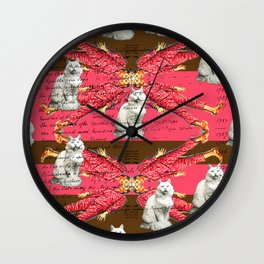 SLEEPING BOYS IN PINK WITH CATS Wall Clock