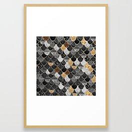 REALLY MERMAID BLACK GOLD Framed Art Print