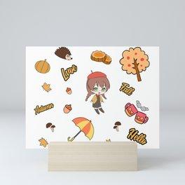 Chibi Kawaii Anime Autumn Mini Art Print