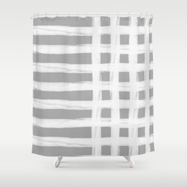grey and white gross stripes Shower Curtain