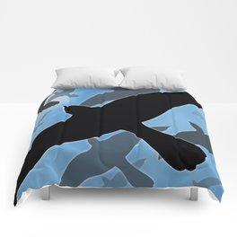 Flock over Blue Sky Comforters