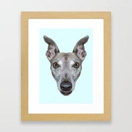 Whippet // Pastel Blue (Vespa) Framed Art Print