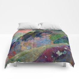 "Paul Gauguin ""The Flageolet Player on the Cliff (Le jouer de flageolet)"" Comforters"