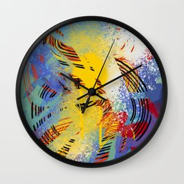 Graffiti Art Abstract Listening to Claude Debussy by Emmanuel Signorino Wall Clock