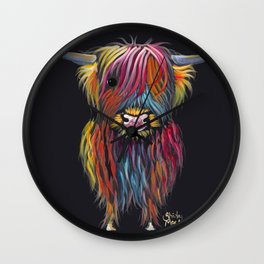 Scottish Highland Cow ' BRAVEHEART ' by Shirley MacArthur Wall Clock