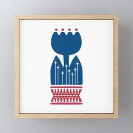 Nordic Blue Flower Framed Mini Art Print