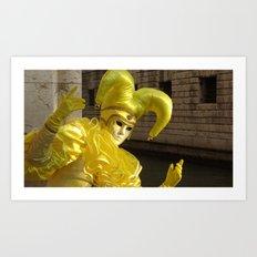 Bright yellow Mask Art Print