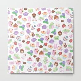 Pink teal trendy sweet macaroons cookies cupcake pattern Metal Print