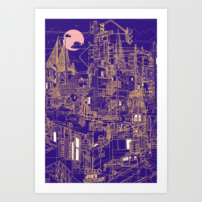 San Francisco! (Night) Art Print