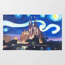 Starry Night in Barcelona - Van Gogh Inspirations with Sagrada Familia Rug