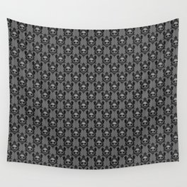 Halloween Damask Grey Wall Tapestry