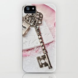 Romantic Vintage Rose and Key iPhone Case