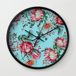 King protea flowers watercolor illustration Wall Clock