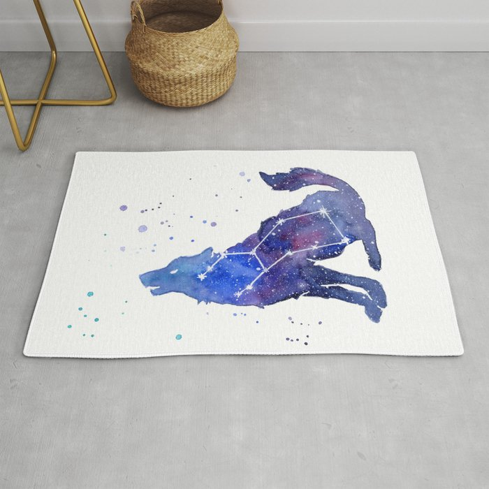 3182468f9 Galaxy Wolf Lupus Constellation Rug by olechka | Society6