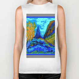 Western Golden Aspens Blue Mountain Landscape Art Biker Tank